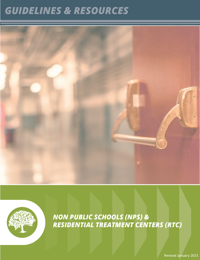 Non Public Schools (NPS) & Residential Treatment Centers (RTC) Guidelines Handbook Cover